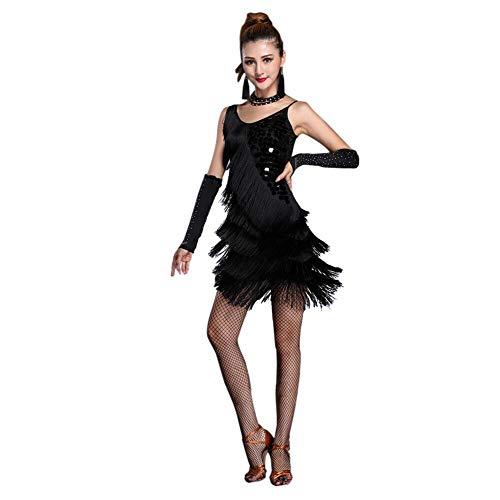 Xinvivion Latein Tanz Kleid für Damen - Walzer Ballsaal Tanzen Praxis Kostüm Paillette Quaste - Black Jazz Flapper Kostüm