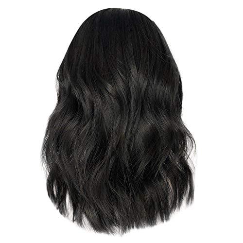Yuan Kurze schwarze Perücken, Wavy Bob synthetische Perücke für schwarze Frauen schwarz