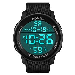Herren Digitale Uhren,Paticess Mode Männer Sportuhr Outdoor wasserdichte Stoßfest große Anzeige LED Herrenuhren Big Face Militär Armbanduhr mit Wecker