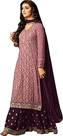 RJ FASHION Women's pink Georgette Embroidered Sharara Salwar Suit(Material_Un-stitched)