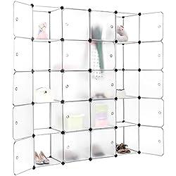 LANGRIA Armario Modular, Estantería por Módulos, Armario de Almacenaje, Para Ropa, Zapatos, Juguetes y Libros, Panel Repujado, 20 Cubos con Puertas