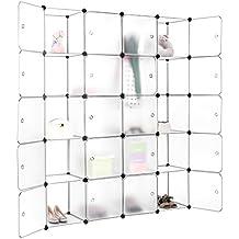 Finether-Armario Modular de 20 Cubos(Organizador de Almacenamiento, Sistema de de Estanterías de Escaparate para Hogar Ropa, Juguetes,