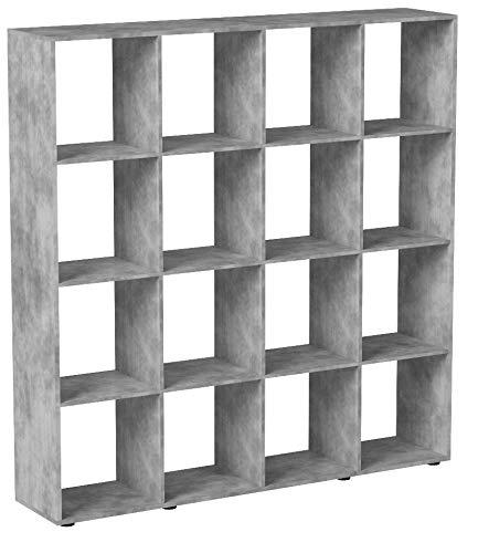VICCO Raumteiler Karree 16 Fächer Bücherregal Standregal Aktenregal Wandregal Raumtrenner (Beton)