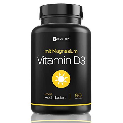 Vitamin D3 [Mit Magnesium] » Für Hohe Bio Verfügbarkeit « Vitamin D 3 Hochdosiert 1000 ie Tabletten/Pillen - Sonnenvitamin/Vitamine - Cholecalciferol - in 90 Kapseln (vegan) (Vitamin D Sonne)