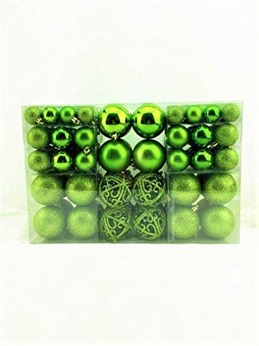 100 palline natalizie di colore verde, scintillanti, lucide e opache, fino a Ø 6 cm, per decorare l