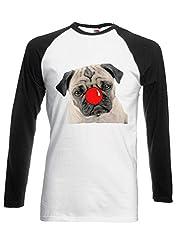 Red Nose Day Pug Dog Animal Novelty Black/White Men Women Unisex Long Sleeve Baseball T Shirt