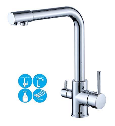 JOHO 3 Wege Küchenarmatur Trinkwasser Wasserhahn für Wasserfilter Spültischarmatur 3 In 1 Mischbatterie Küchenspüle Filtersystem -