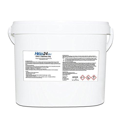 Helo Chlor L Chlortabletten 5 kg Eimer (20g Tabletten), langsam lösliche Chlorin Tabletten, ph-Wert neutral und kalkfrei, Aktivchlor ca. 90%, Langzeitwirkung gegen Bakterien, Viren und Pilze -