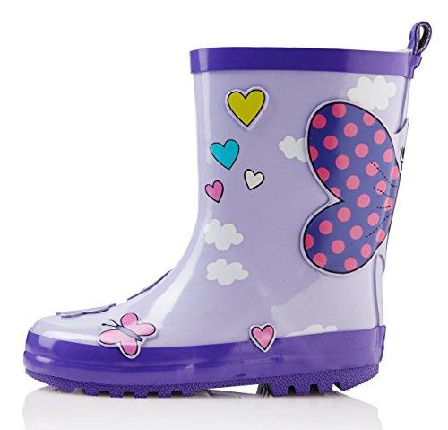 smileBaby Gummistiefel Lila Schmetterling 30 31 Regen Stiefel Lila Mädchen