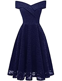Laorchid Women's Lace Princess Dress Swing Cocktail Evening Knee Length