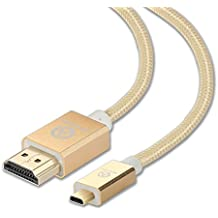 IBEQUANIC - Micro HDMI (tipo D) a HDMI (tipo A) 5m,Cable de HDMI a micro HDMI de alta velocidad, con Ethernet, 3D y canal de retorno de audio (15 ft, Oro)