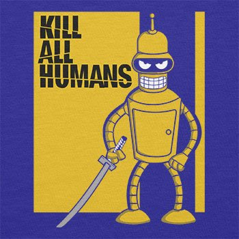 TEXLAB - Kill All Humans - Herren Langarm T-Shirt Marine