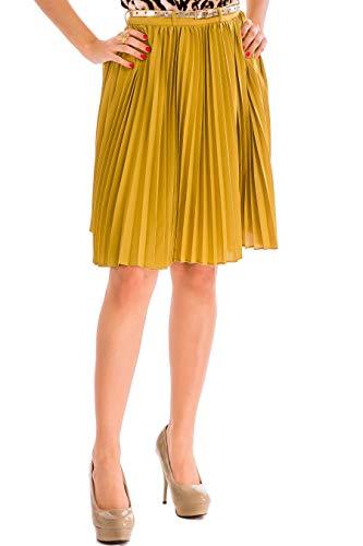 Damen Tellerrock Minirock, Tellerrock Damen, Damen Rock Winter, Rock Kurz Für Mädchen, Rock Plissee Damen, Faltenrock High Waist Kurz, A Linien 50S Größe 42 (XX-Large) Senf-Gelb (Mustard Gold Yellow)