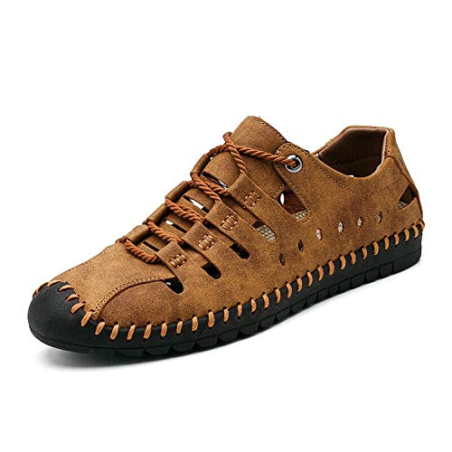 Mens Handwork Lace Up Hollow Out Leisure Outdoor Flat Heel Driving Shoes Summer Brown US6