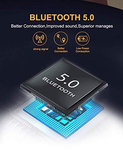 2019 Nuovo Auricolari Bluetooth Senza Fili BT5.0 Toccare Mini Cuffie Bluetooth con Microfono Stereo Audio per IOS Android PC, Supporto Siri/Ricarica Wireless (Bianca-33)