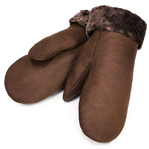 CHRIST Lammfell Fäustlinge Warme, Lange Unisex Fausthandschuhe aus Echtem Fell, Winter-Handschuhe für Damen und Herren in Hellbraun, Größe 8