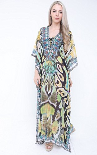 Aftershock London Annie Multicoloured Silk Embellished Snake Print Kaftan