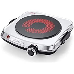 SUNAVO Plaque Électrique en Vitrocéramique Portable Plaques de Cuisson Unique Cuisinière 1200W
