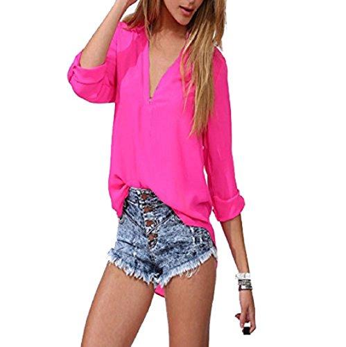 Sannysis Frauen-Freizeit-loses Chiffon- Langarm-Blusen-Hemd-Oberseiten (EU 40(Asia XL), Hot Pink) (Langarm Robe Fleece Mädchen)