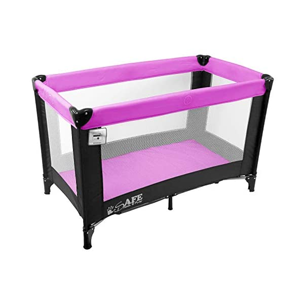 iSafe Rest & Play Luxury Baby Travel Cot Playpen - Purple 120 cm x 60 cm iSafe Luxury Travel Cot / Playpen Four Mesh Side Panels Allow Ventilation & Easy Viewing Of Your Little One Complete With Handy Carry Bag Complete With Shoulder Handle Straps Or Carry Handle 2