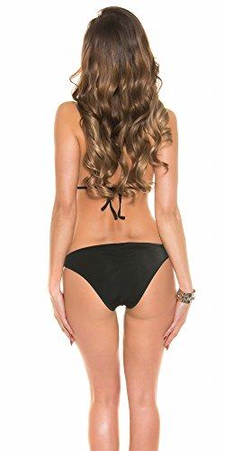 In-Stylefashion Damen Monokini rückenfrei eleganter Triangel Badeanzug Push-up mit Strass-Aplikationen Swimsuit Schwarz/Rosa