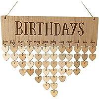 BESTOYARD Geburtstagskalender Erinnerung Immerwährender Holz Kalender DIY Geschenk Dekoration für Haus Party Dekoration