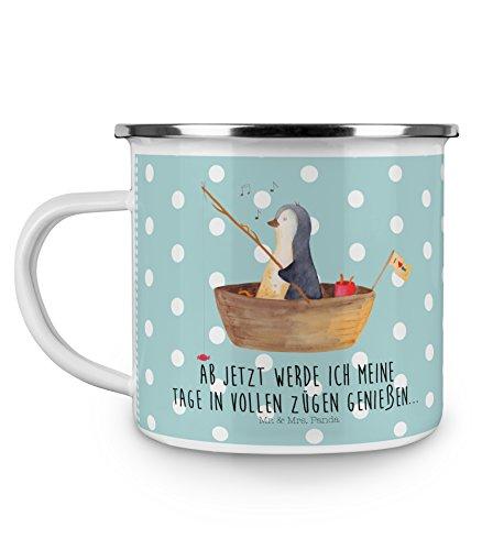 Mr. & Mrs. Panda Metall-Tasse, Motivtasse, Camping Emaille Tasse Pinguin Angelboot mit Spruch - Farbe Türkis Pastell