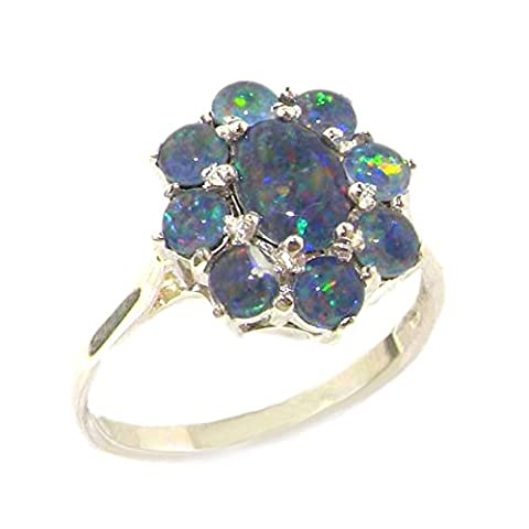 Luxury Sterling Silver Ladies Opal Cluster Ring - Size N 1/2 - Finger Sizes K to Z Available - Ideal gift for for Christmas, Birthday, Valentines or Mothers