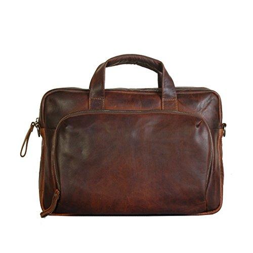 Preisvergleich Produktbild Vilenca Holland 40799 Braun große Ledertasche Messenger Bag / Laptoptasche Leder / Umhängetasche Herren und Damen / Schultertasche Herren aus echtem Leder - Unisex- Vintage Größe: L38xH37xB5.5
