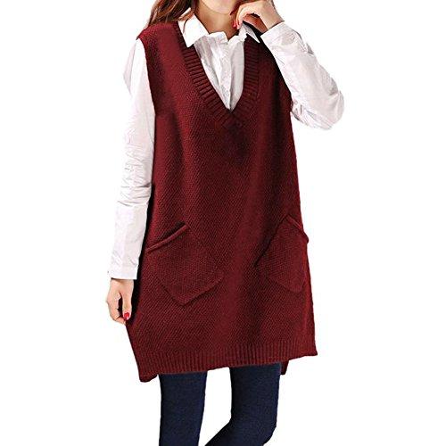 CHIC-Damen Strick Pullunder lang Weste V-Ausschnitt Ärmellos Sweater Pullover Casual Sweatshirt (Rot)