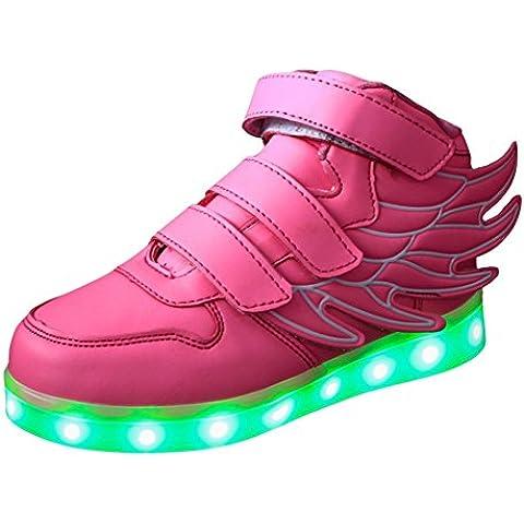Hightech Unisex Zapatillas LED carga USB Zapatos con ruedas led deportivas con ala 2016 Nuevo Moda para niños