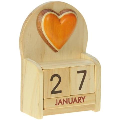Cuore : legno calendario perpetuo: tradizionale a