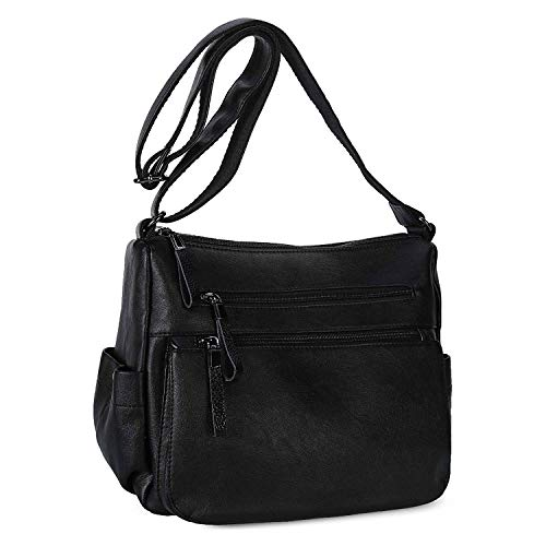92acdd3c48993 Women Shoulder Bag PU Leather Crossbody Purse Soft Leather Handbags for  Ladies - Black