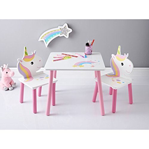 Amazing Unicorn Children Pink White Wooden Table Chairs Furniture Set