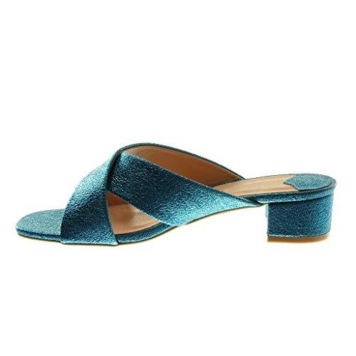 Angkorly Scarpe Moda Sandali Mules Slip-On Donna Lucide a Grana Tacco a Blocco Alto 4 cm Blu
