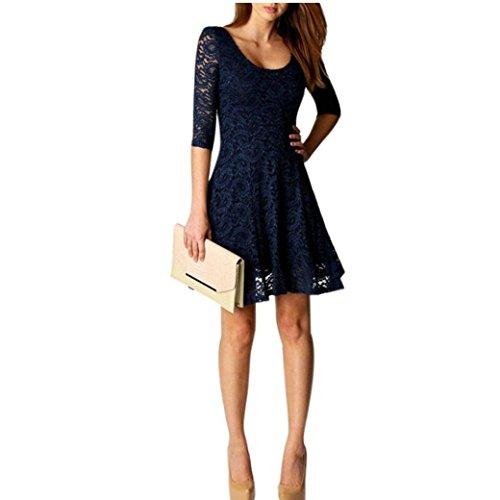 Bekleidung-Longra-Damen-Art-und-Weisefrauen-Spitzes-drei-Viertel-Partykleider-Kurzschluss-Minikleid-Elegante-Abendkleider