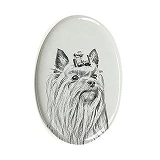 ArtDog Ltd. Yorkshire-Terrier, Oval Grabstein aus Keramikfliesen mit Einem Bild eines Hundes