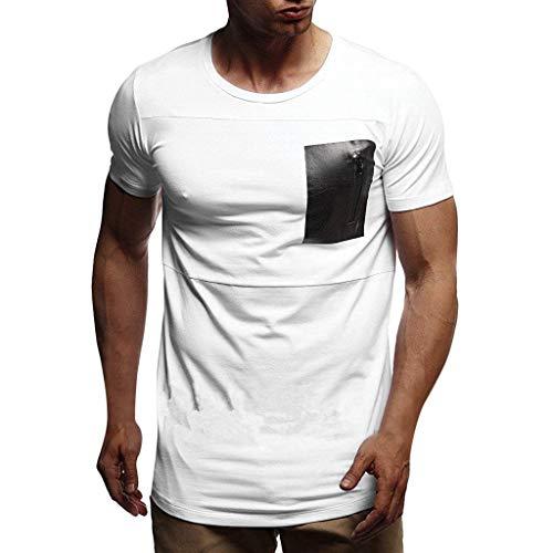 Herren Sommer T-Shirt Kurzarm Rundhalsausschnitt Muskel Basic Top Slim Fit Zipper Tee Zolimx - Top-pool-bekleidung