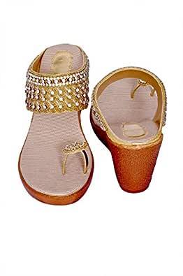 J.G.Shoes JG03 Bridal Footwear Sandles with Heels for Women/Girls Golden (36)