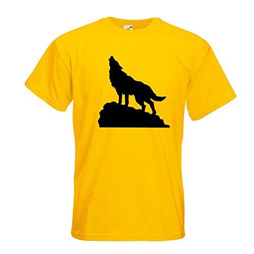 KIWISTAR - heulender Wolf auf Fels T-Shirt in 15 verschiedenen Farben - Herren Funshirt bedruckt Design Sprüche Spruch Motive Oberteil Baumwolle Print Größe S M L XL XXL Gelb