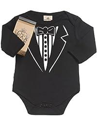 SR - Gift Boxed in Baby Gift Tuxedo Organic Baby Clothing Babygrow - Baby Onesie - Baby Gift in Gift Milk Carton Gift Box - Black