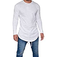 OverDose camisetas hombre manga larga delgada del O-cuello ocasional blusa de las tapas
