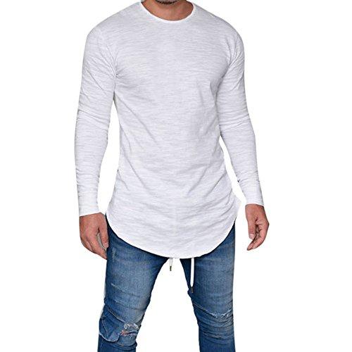 Langarmshirt Herren, Sunday Männer Slim Fit O-Ausschnitt Langarm Muscle T-Shirt Casual Tops Bluse täglichen Frühling Solid Casual O Hals Shirt (L, Weiß) (Tee Muscle Solides)