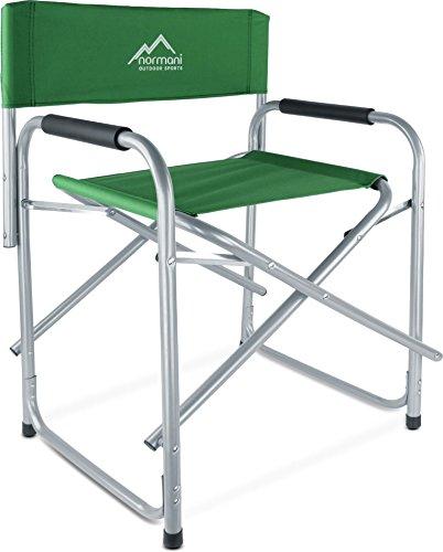 normani Regiestuhl Campingstuhl faltbar bis 150 Kg, Stahl mit gepolsterten Armlehnen Farbe Oliv - Gepolstert Armlehne