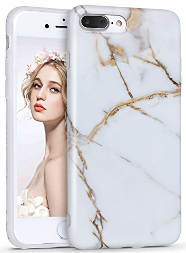 iPhone 8 Plus Marble Case, iPhone 7 Plus Marble Case, Imikoko Matt Soft Silicone Phone Case Stone Marble Painting Slim TPU Bumper Phone Case Flexible Protective Back Back Marble Lines Soft Back Cover  Muster 6