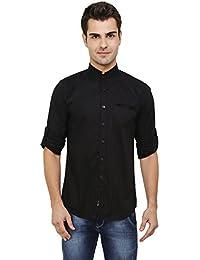 eebfdc01a88ec nick jess - Negro Camisa Casual - Básico - Cuello Mao - Manga Larga - para  Hombre