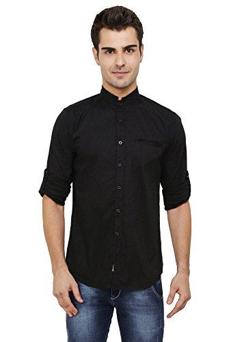 nick&jess - Negro Camisa Casual - Básico - Cuello Mao - Manga Larga - para Hombre