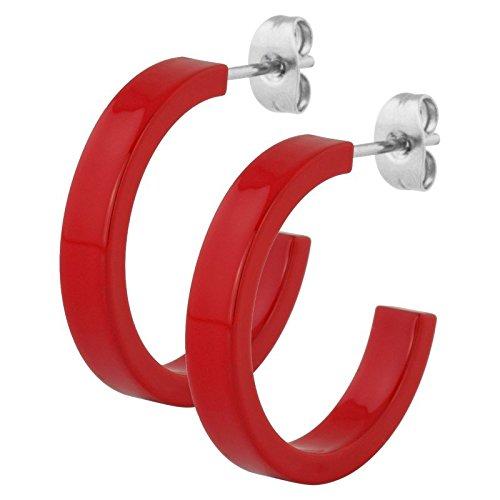 Stahl - Ohrring - flach - Supernova Concept - 4 x 18 mm (Ohrstecker Ohrreifen Ohrschmuck für Damen und Herren) Rouge / Red