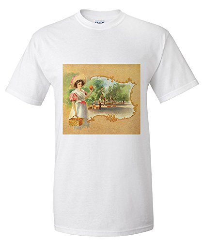 Woman in Orchard - California Citrus Crate Label (Premium T-Shirt) (Crate Label)