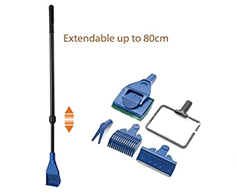 Fish Park High Quality Aquarium 5in1 Extendable Cleaning kit Gravel Rake Algae Scraper Flant Fork